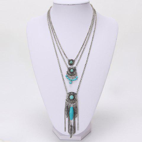 Layered Bead Decorated Tassel Necklace - SILVER