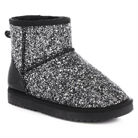 stylish sequined and flat heel design snow boots for women