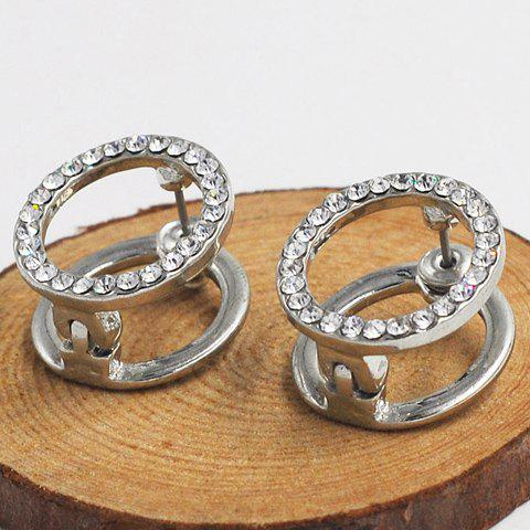 Pair of Trendy Rhinestone Hollow Out Round Women's Earrings - SILVER