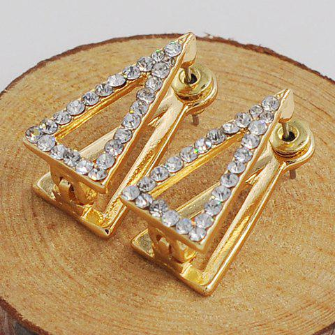 Pair of Chic Rhinestoned Hollow Out Triangle Women's Earrings - GOLDEN