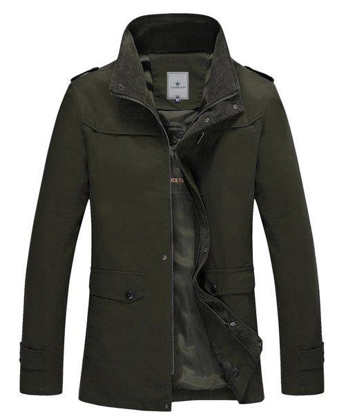 Loose Fit Stand Collar Fashion Large Pocket Epaulet Design Long Sleeve Cotton Blend Men's Coat - ARMY GREEN L