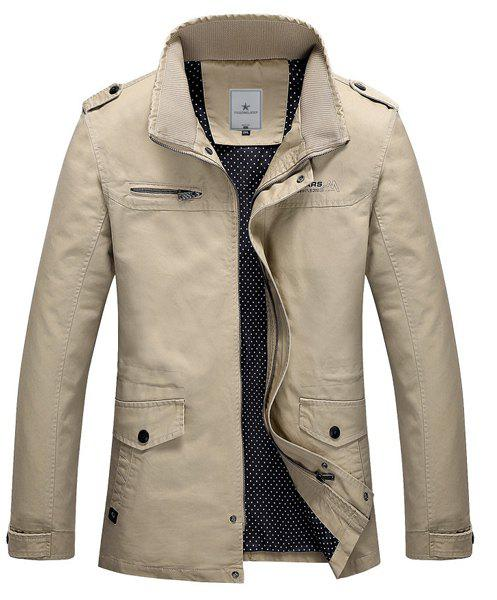 Fitted Stand Collar Trendy Multi-Pocket Epaulet Design Long Sleeve Cotton Blend Men's Coat - LIGHT KHAKI M