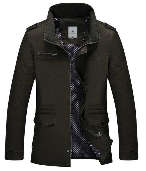 Stand équipé Collar Trendy Multi-Pocket Epaulet conception manches longues en coton Blend Coat Men - armée verte 3XL