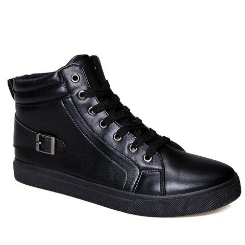 Stylish Solid Color and Buckle Design Boots For Men