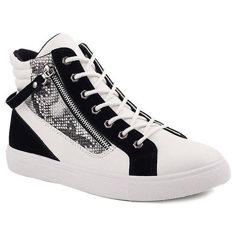 Stylish Snake Print and Zipper Design Casual Shoes For Men