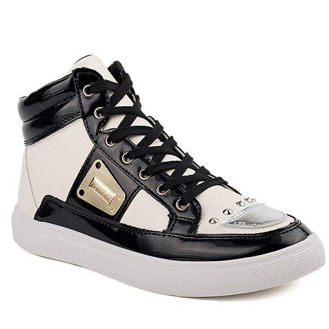 Stylish Rivets and Metal Design Casual Shoes For Men - WHITE 41