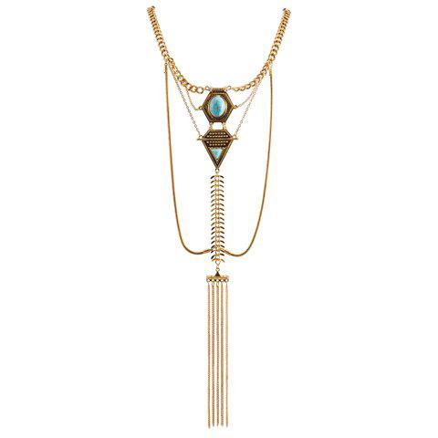 Faux Turquoise Inlaid Geometric Shape Long Tassel Necklace - GOLDEN