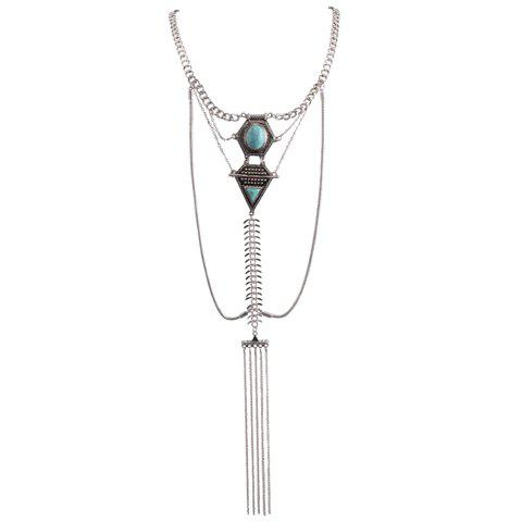 Faux Turquoise Inlaid Geometric Shape Long Tassel Necklace - SILVER