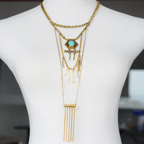 Fake Turquoise Bar Tassel Sweater Chain - GOLDEN