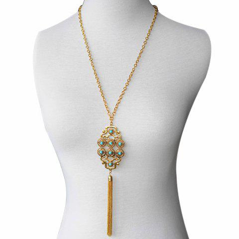 Delicate Fashionable Turquoise Decorated Tassel Pendant Women's Sweater Chain Necklace - GOLDEN