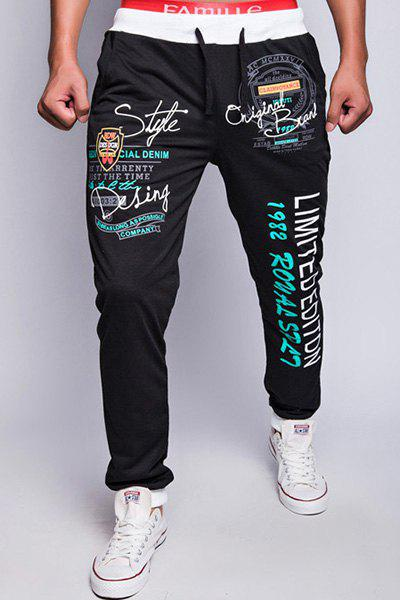 Stylish Drawstring Loose Fit Letters Print Color Block Rib Splicing Beam Feet Polyester Sweatpants For Men 144988101