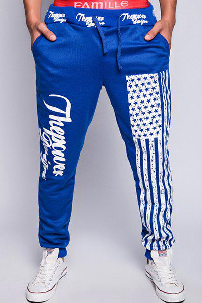 Trendy Lace-Up Loose Fit American Flag Print Beam Feet Polyester Jogger Pants For Men - SAPPHIRE BLUE 2XL