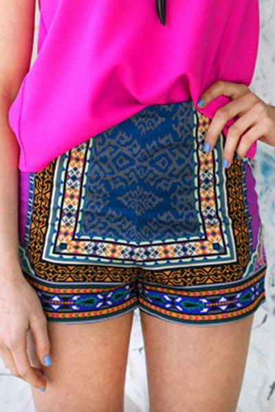 Ethnic Style Color Block Printed Shorts For Women - COLORMIX XL