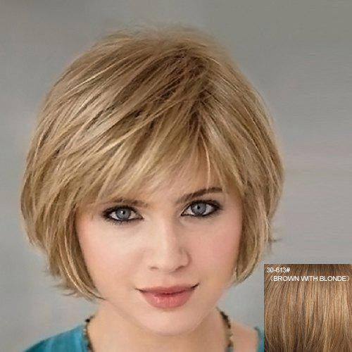 Real Human Hair Attractive Fluffy Natural Wavy Side Bang Short Capless Women's Wig - BROWN/BLONDE