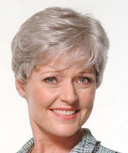Vogue Fluffy Silvery Gray Side Bang Short Wavy Capless Synthetic Wig For Elderly Women - SILVERY GRAY