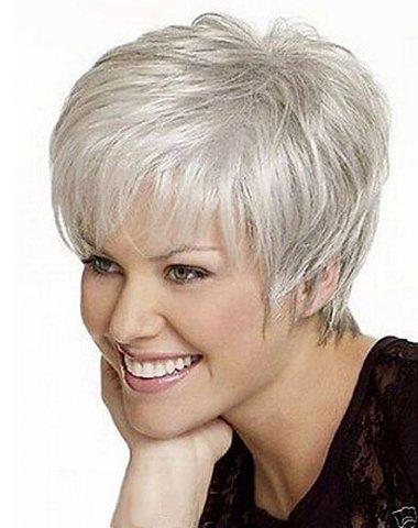 Natural Wavy Short Shaggy Spiffy Silvery White Mixed Full Bang Synthetic Capless Wig For Women