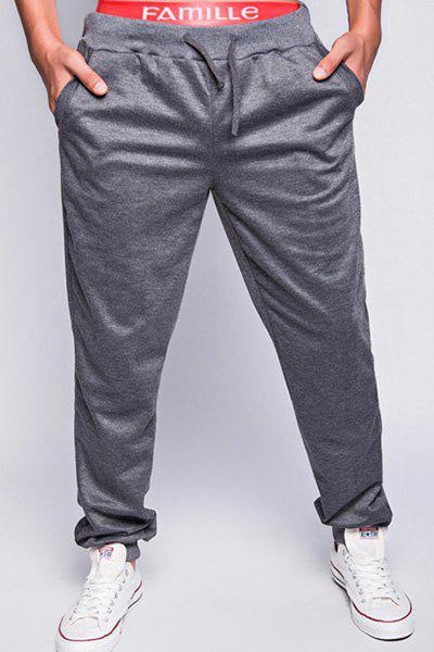 Stylish Lace-Up Loose Fit Simple Solid Color Beam Feet Polyester Jogger Pants For Men - DEEP GRAY 2XL