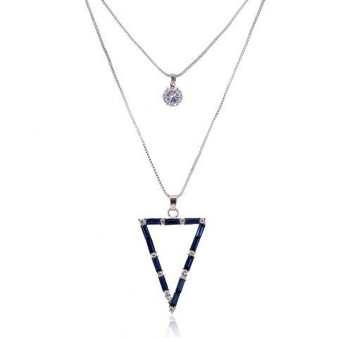 Elegant Chic Double-Layer Rhinestone Inlaid Triangle Shape Sweater Chain Necklace For Women - BLUE