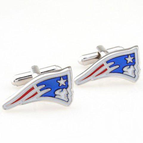 Pair of Stylish Star and Human Head Shape Embellished Men's Cufflinks - COLORMIX