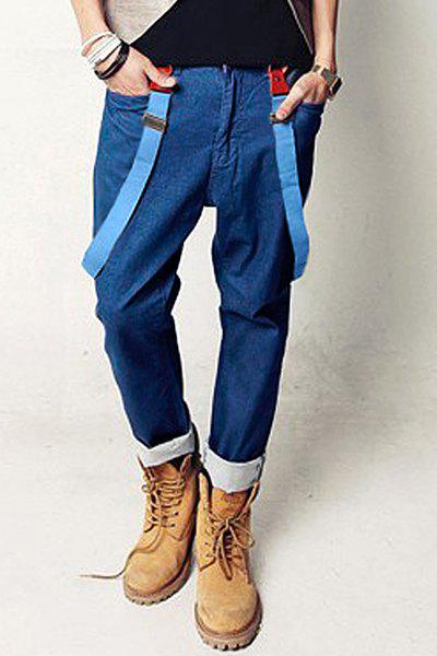Stylish Slimming Solid Color Pocket Labeling Narrow Feet Detachable Denim Overalls For Men - BLUE M