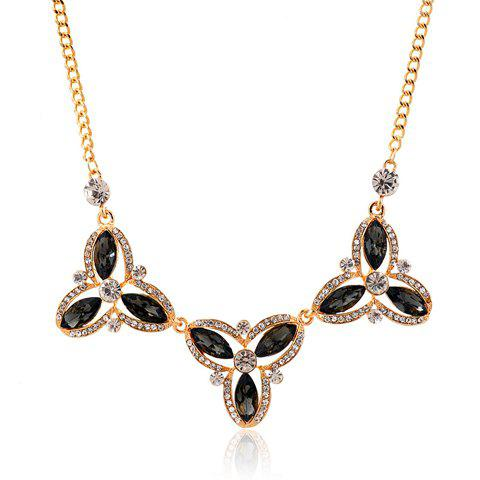 Elegant Stunning Faux Crystal Decorated Flower Shape Necklace For Women - BLACK
