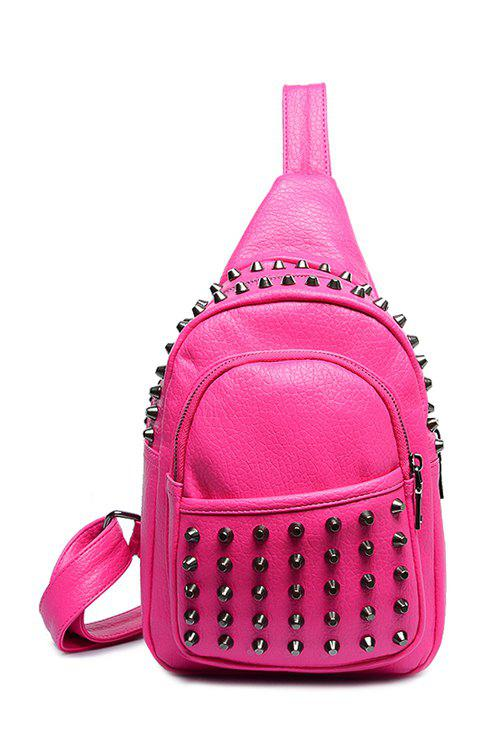 Fashion Solid Color and Rivets Design Women's Satchel - ROSE