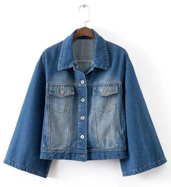 Trendy 3/4 Sleeve Bleach Wash Loose Denim Jacket For Womem