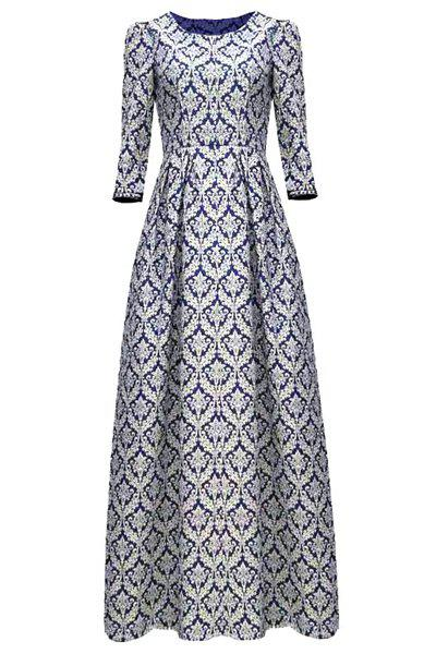 Vintage Round Neck Floral Print 3/4 Sleeve Women's Maxi Dress - BLUE M