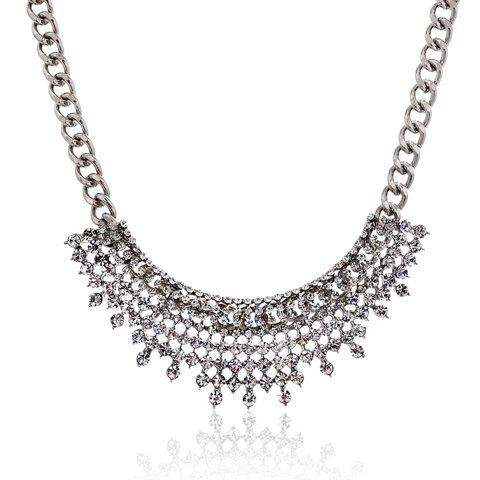 Luxurious Hollow Out Rhinestoned Women's Necklace - SILVER