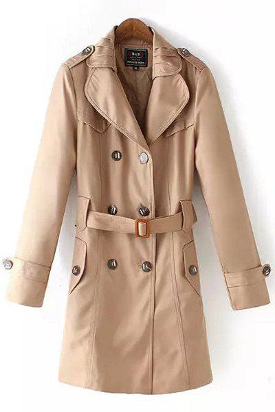 Stylish Lapel Neck Long Sleeve Solid Color Women's Trench - KHAKI 3XL