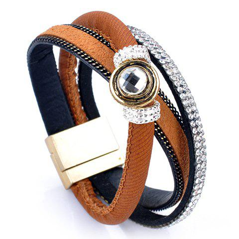 Rhinestone Faux Leather Layered Bracelet - BROWN