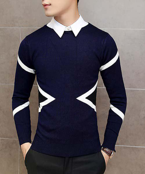 Slimming Round Neck Rhombus Stripes Jacquard Color Block Men's Long Sleeves Sweater slimming color block stripes spliced round neck long sleeves sweater for men