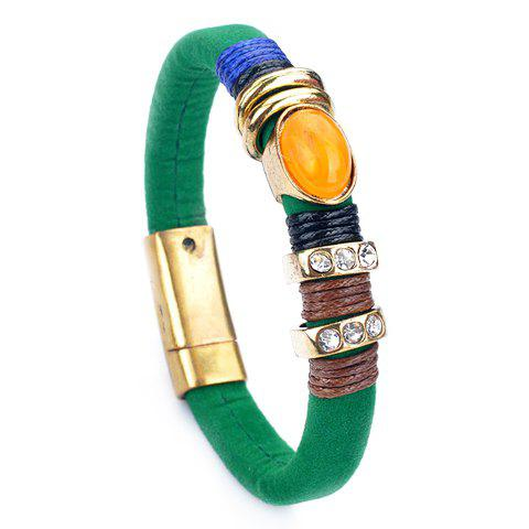 Trendy Rhinestone Faux Leather Women's Bracelet -  GREEN