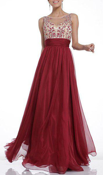 Sexy Women's Jewel Neck Backless Embroidered Maxi Dress - WINE RED L