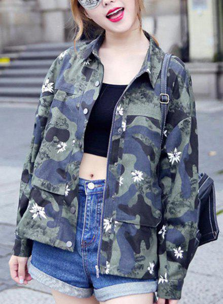 Stylish Turn-Down Neck Long Sleeve Camouflage Floral Print Women's Jacket - ARMY GREEN L