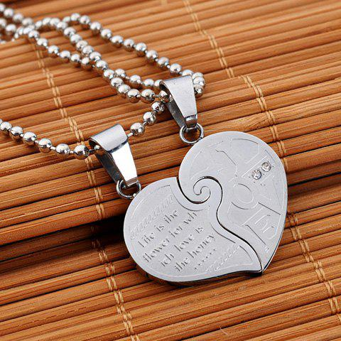 Pair of Trendy Letter Stainless Steel Love Necklaces For Lovers - SILVER