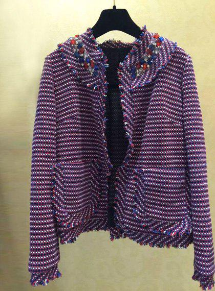 Stylish Colored Plaid Round Neck Long Sleeve Coat For Women - PURPLE S