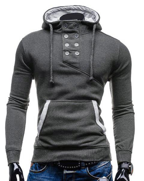 Slimming Hooded Stylish Double Breasted Pocket Hemming Long Sleeve Cotton Blend Men's Hoodie - DEEP GRAY L