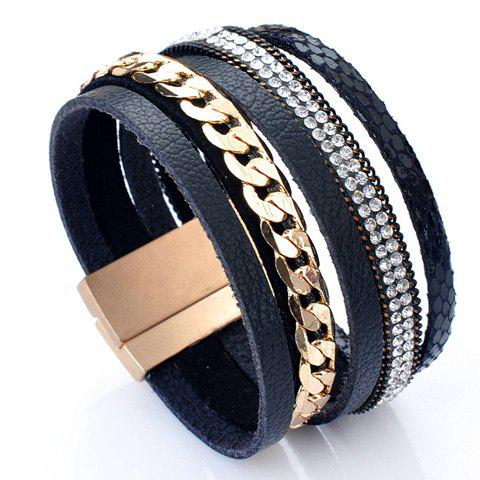 Layered Rhinestone Faux Leather Bracelet - BLACK