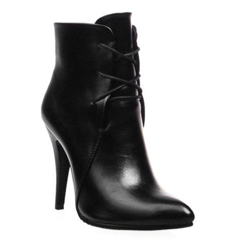 Stylish Solid Colour and Pointed Toe Design High Heel Boots For Women - 34 BLACK