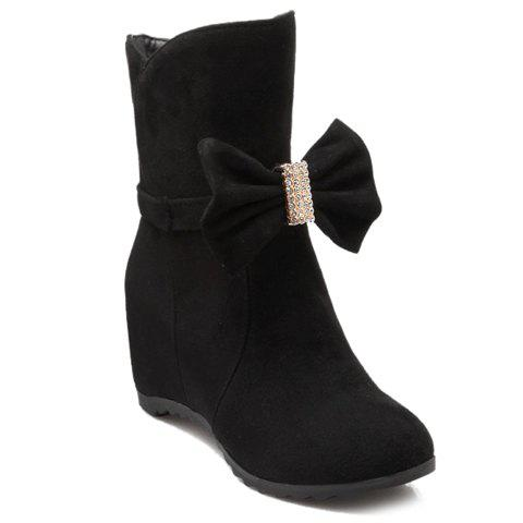 Sweet Rhinestones and Bowknot Design Ankle Boots For Women - BLACK 36