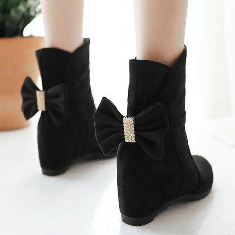 Sweet Rhinestones and Bowknot Design Ankle Boots For Women - BLACK 37