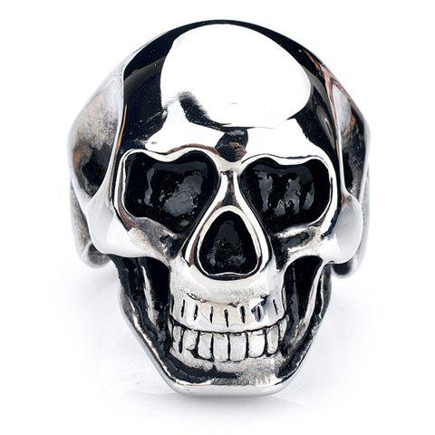 Characteristic Skull Stainless Steel Men's Ring - SILVER WHITE ONE-SIZE