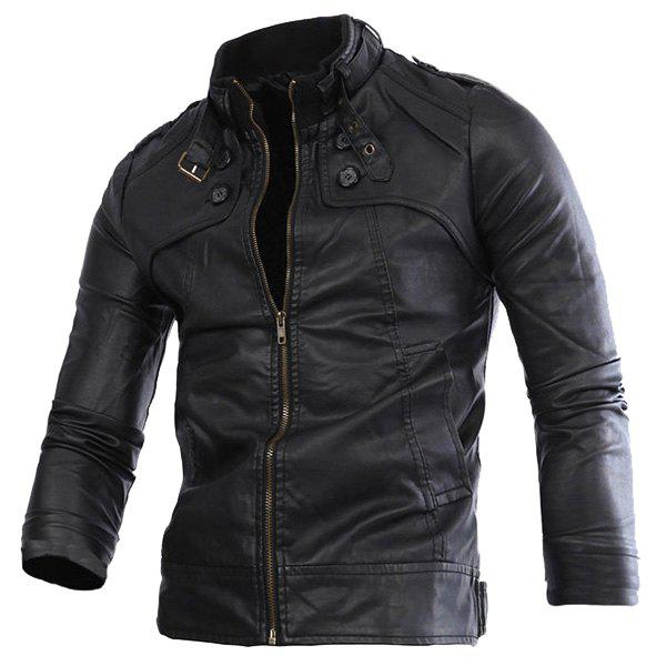 Slimming Rib Spliced Button and Epaulet Design Stand Collar Long Sleeves Men's Locomotive PU Leather Jacket - BLACK L