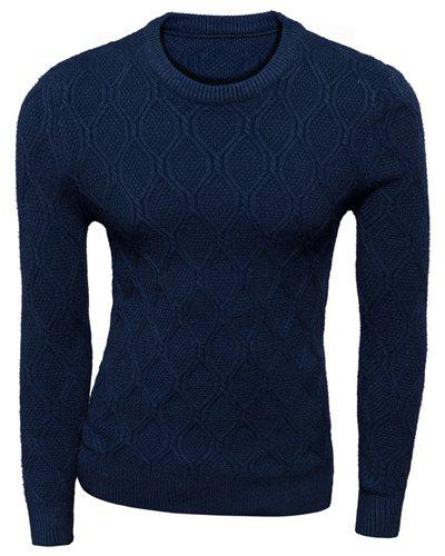 Trendy Fitted Round Neck Solid Color Argyle Kink Long Sleeve Polyester Pullover Sweater For Men - CADETBLUE L