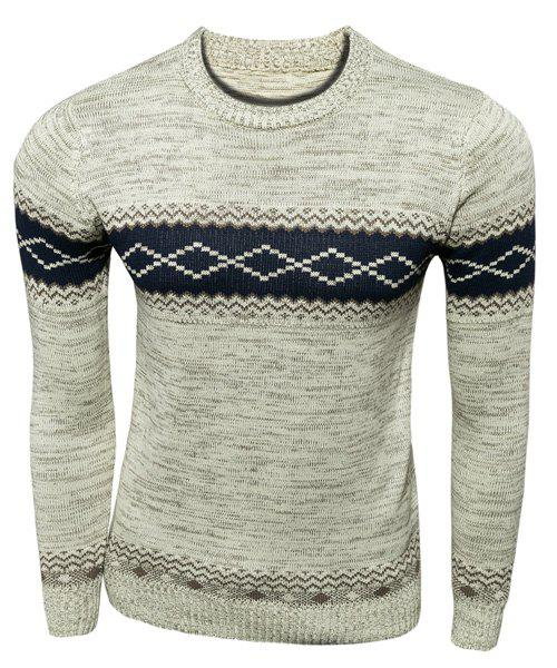 Stylish Slimming Round Neck Ethnic Geometric Jacquard Long Sleeve Polyester Jumper Sweater For Men - OFF WHITE L
