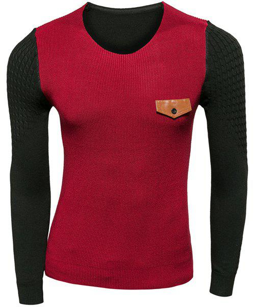 Trendy Slimming Round Neck Fake Pocket Color Block Splicing Long Sleeve Polyester Sweater For Men - WINE RED M
