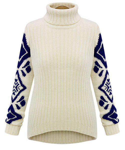 Brief Geometrical Pattern Turtleneck Long Sleeve Sweater For Women - WHITE M