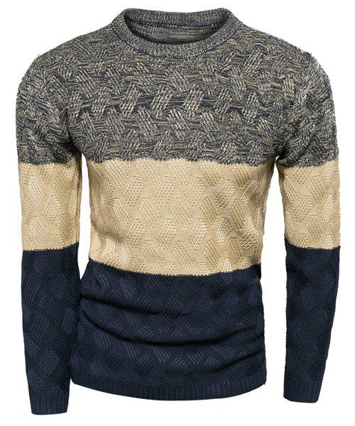 Slimming Modish Round Neck Multicolor Splicing Kink Design Long Sleeve Polyester Men's Sweater - DEEP GRAY M