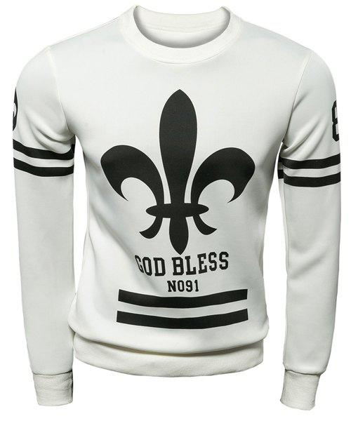 Slimming Modish Round Neck Spearhead and Stripe Pattern Long Sleeve Polyester Men's Sweatshirt - WHITE M
